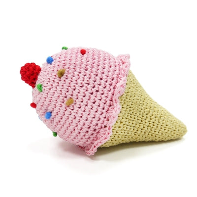 Ice Cream Knit Squeaker Toy
