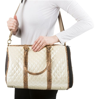 Ivory Quilted Luxe JL Duffel Bag with Snake