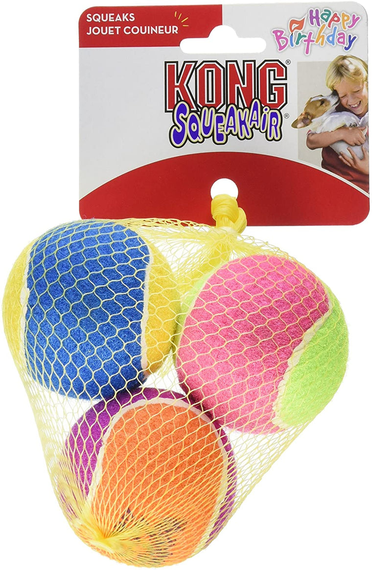 Air Kong Squeaker Birthday Balls 3pk in Net