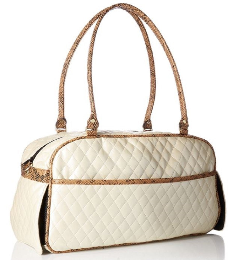 Petote Marlee Bag - Ivory Quilted with Snake