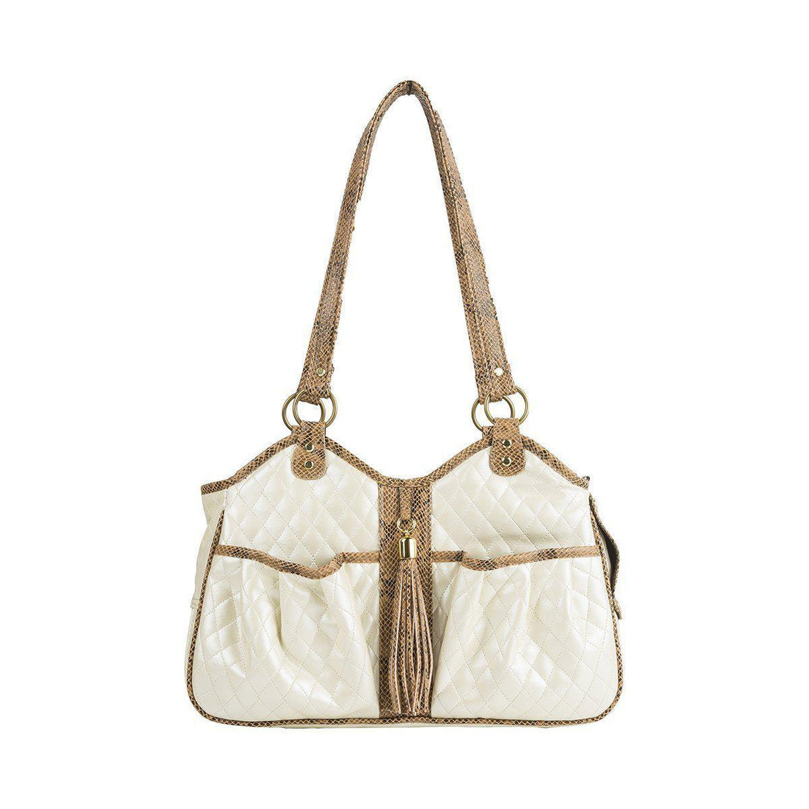 Petote Metro Bag Couture Collection - Ivory Quilted with Snake Tassel