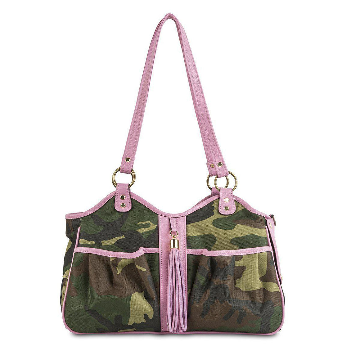 Petote Metro Bag Couture Collection - Camo With Pink Leather Trim & Tassel