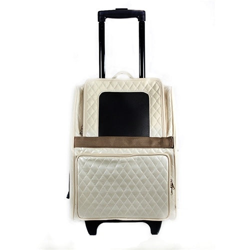 Petote Traveler Bag: Rio Couture Collection - Ivory Quilted with Snake