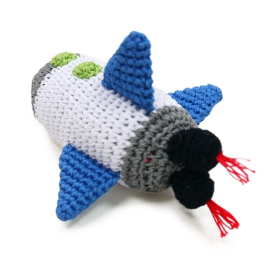 Space Ship Knit Squeaker Toy