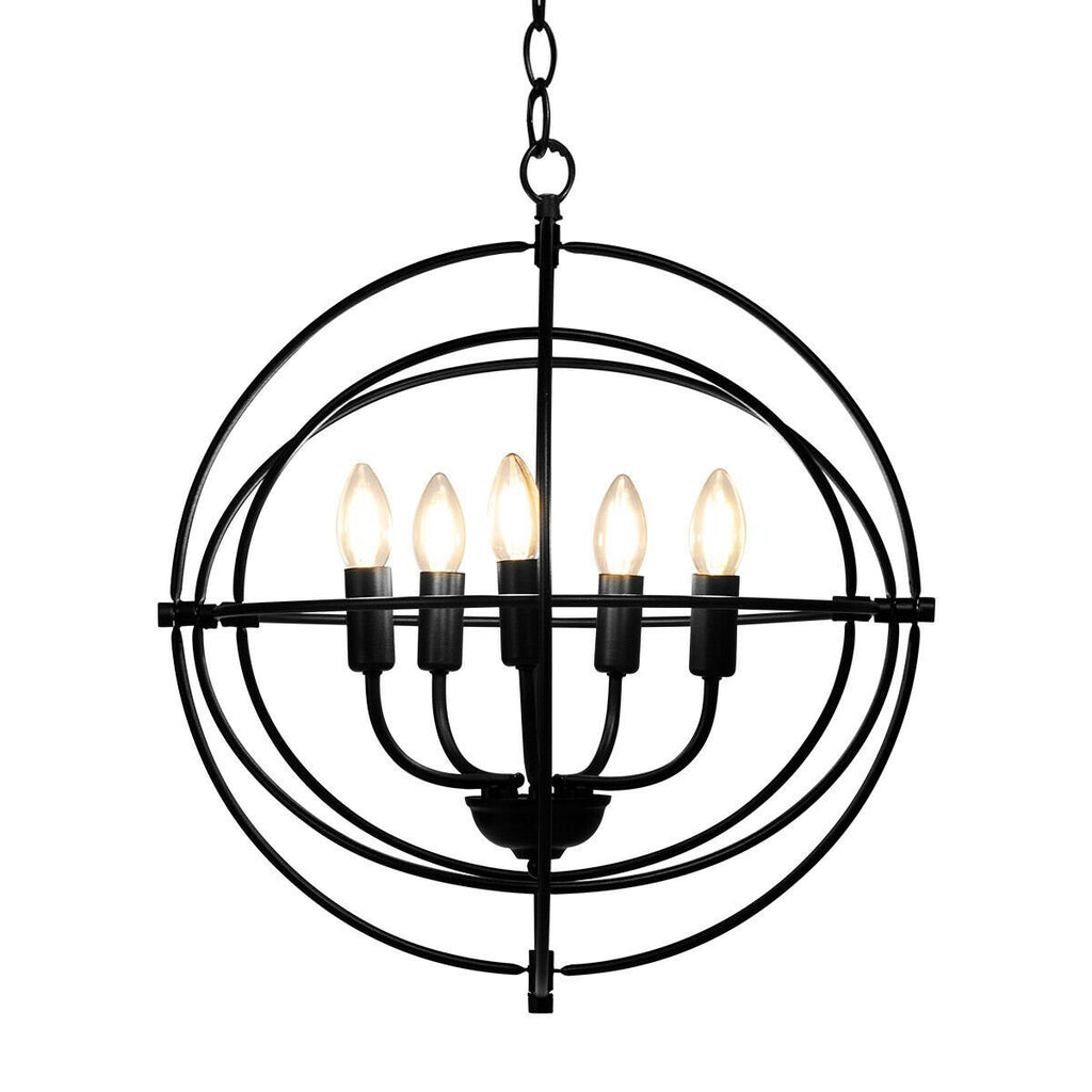 "Rustic Industrial Chandelier - 5 Lights - 20"" Round"