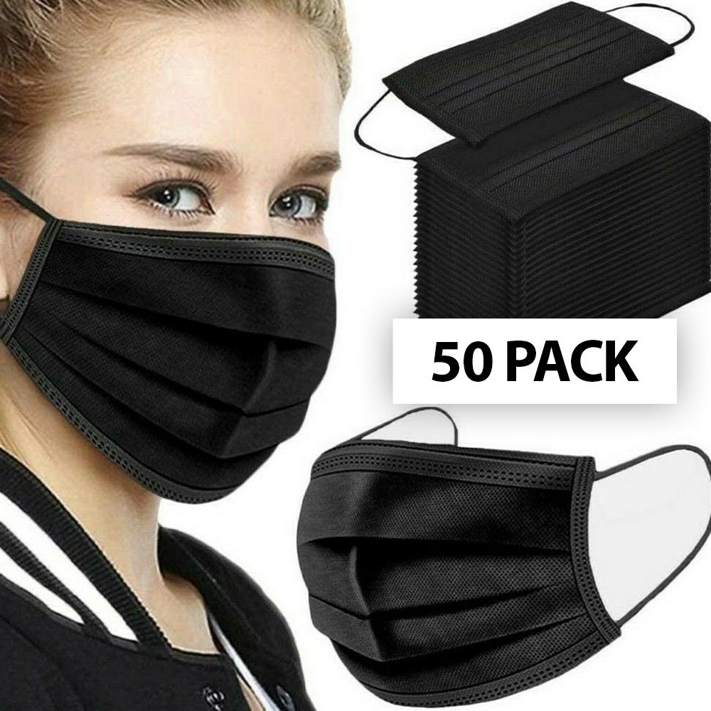 Face Mask - 3 Ply Disposable Black - 50 Pack