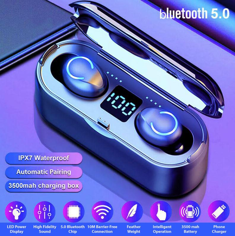 True Wireless Earbuds - Wireless Earphones - Bluetooth Earbuds & Charging Bank