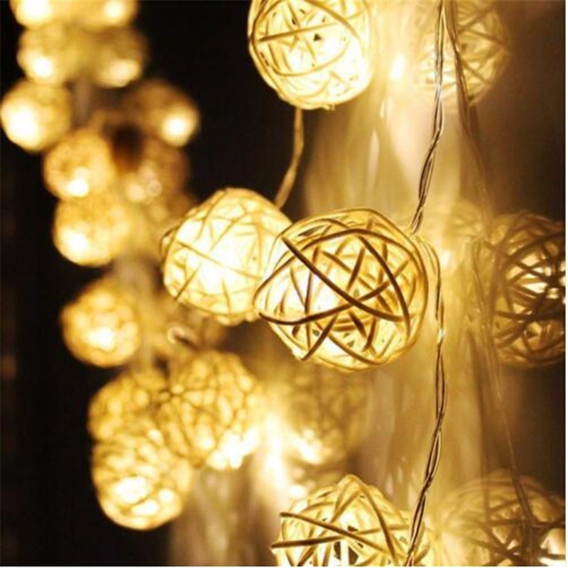 """Moondance"" LED Lights - 4m in length with 20 rattan balls!"