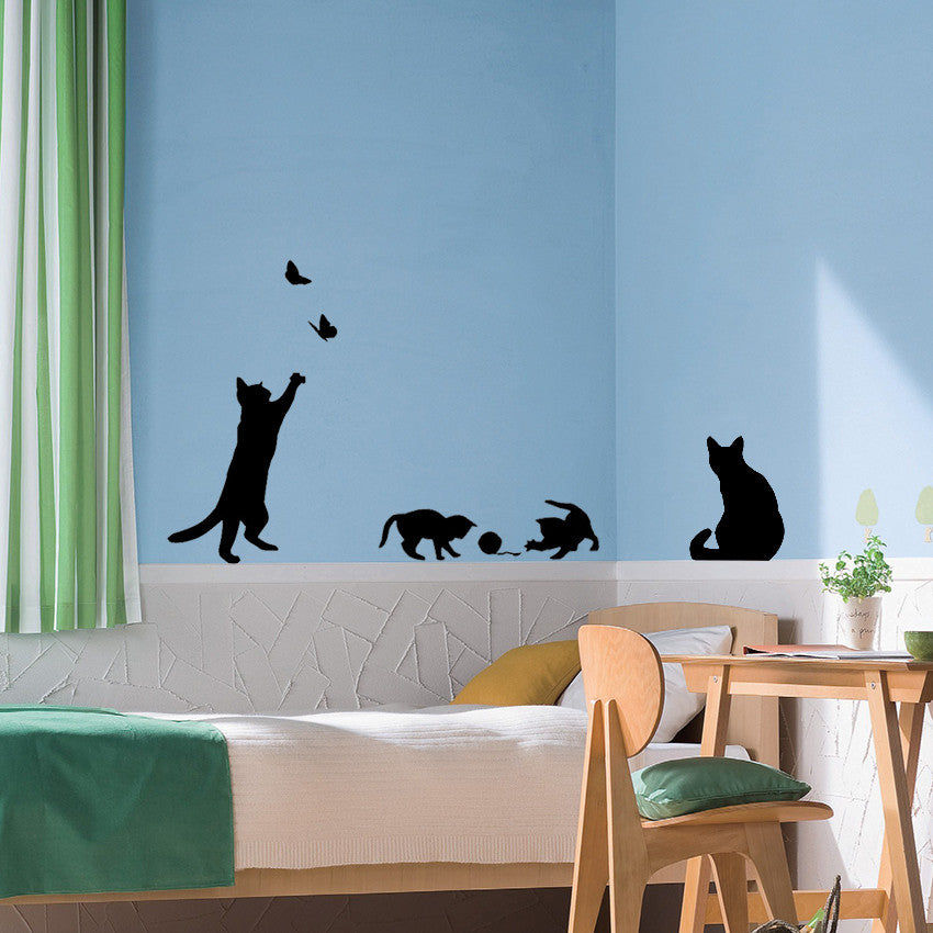 Silhouette Cat Family Wall Sticker Set