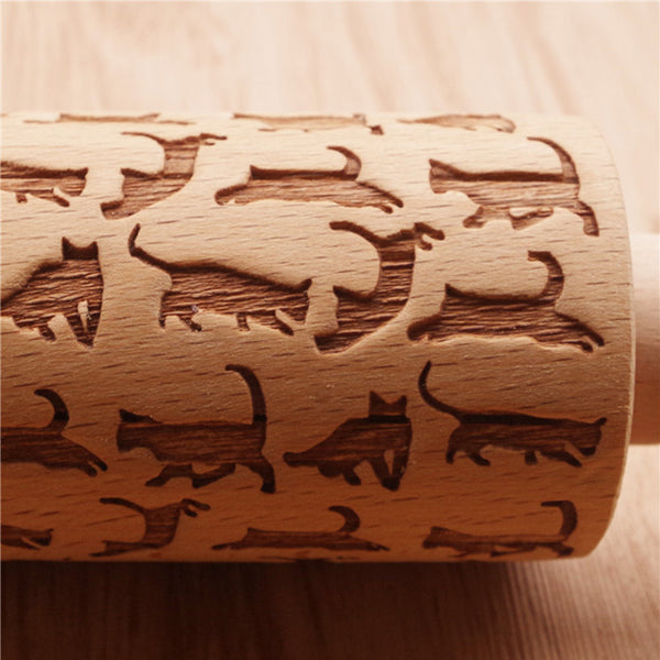 Wooden Rolling Pin with Cat Pattern - The Baking Buddies