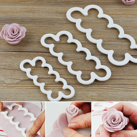 3pcs Silicone 3D Rose Flower Mold for Fondant, Cake, Chocolate & Sugarcraft - The Baking Buddies