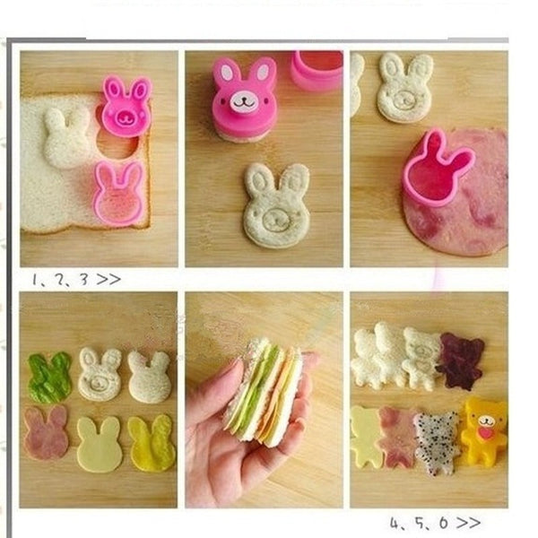 Cute Embossed Cookie Cutter Sandwich Molds (3pc/set)