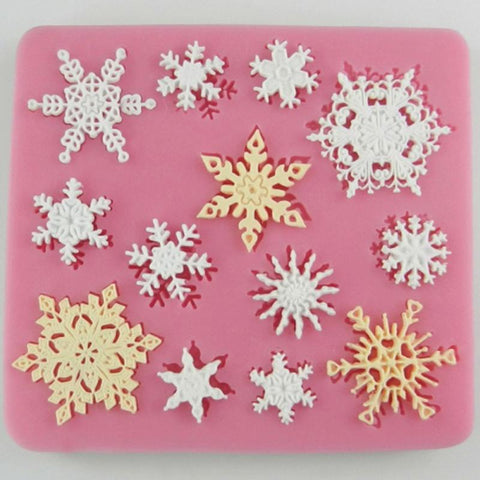 Festive Fondant Cake Decorating Snowflake Shaped Silicone Mold - The Baking Buddies