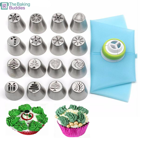 Assorted Christmas Style Nozzle Set (16pc Set) - The Baking Buddies