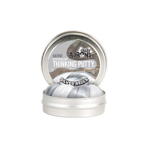 "Crazy Aaron's - Mini Hypercolour Thinking Putty (2"" Tin) - Silver Bells"