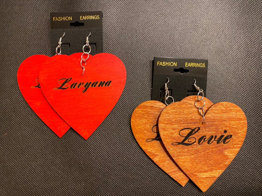 "Heart-Shaped Wooden Earrings 3""(inches)"