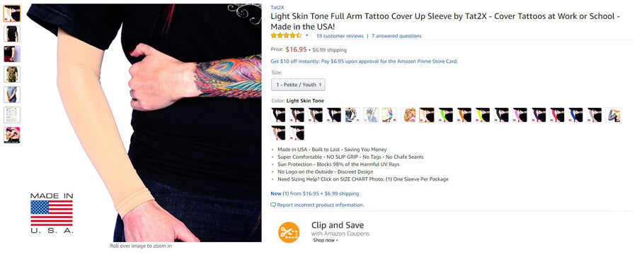 Ink Armor Full Arm Sleeve on Amazon Prime