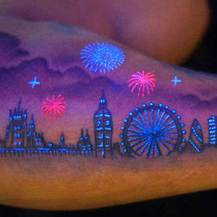 glow in the dark vs. UV tattoos what everyone should know tattoo of London skyline
