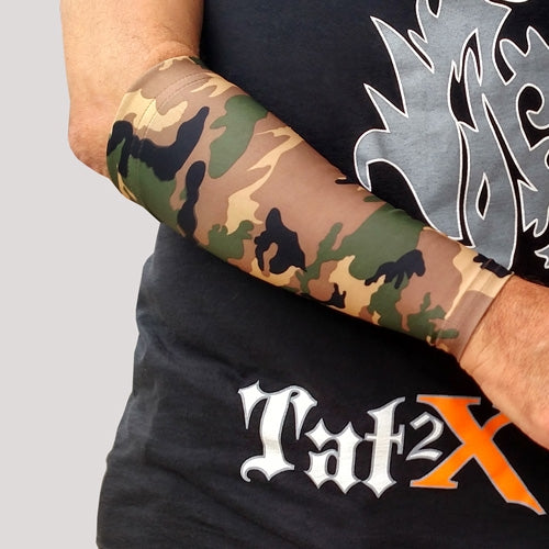3 4 Tattoo Sleeve Cover: Green Camouflage Tattoo Cover Up Sleeve For Concealing