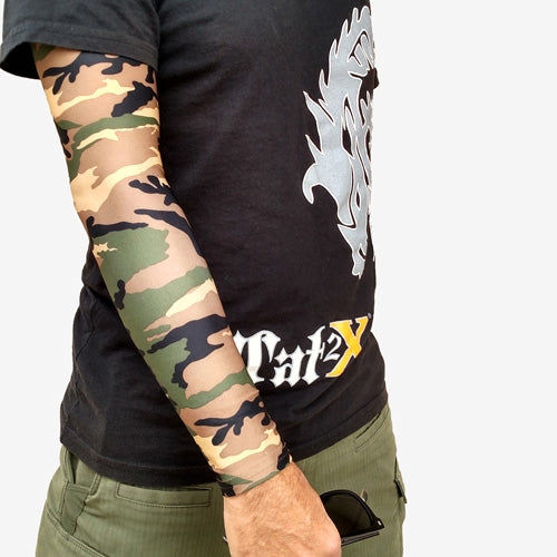 3 4 Tattoo Sleeve Cover: Green Camouflage Arm Sleeves For Covering Up Tattoos Ink