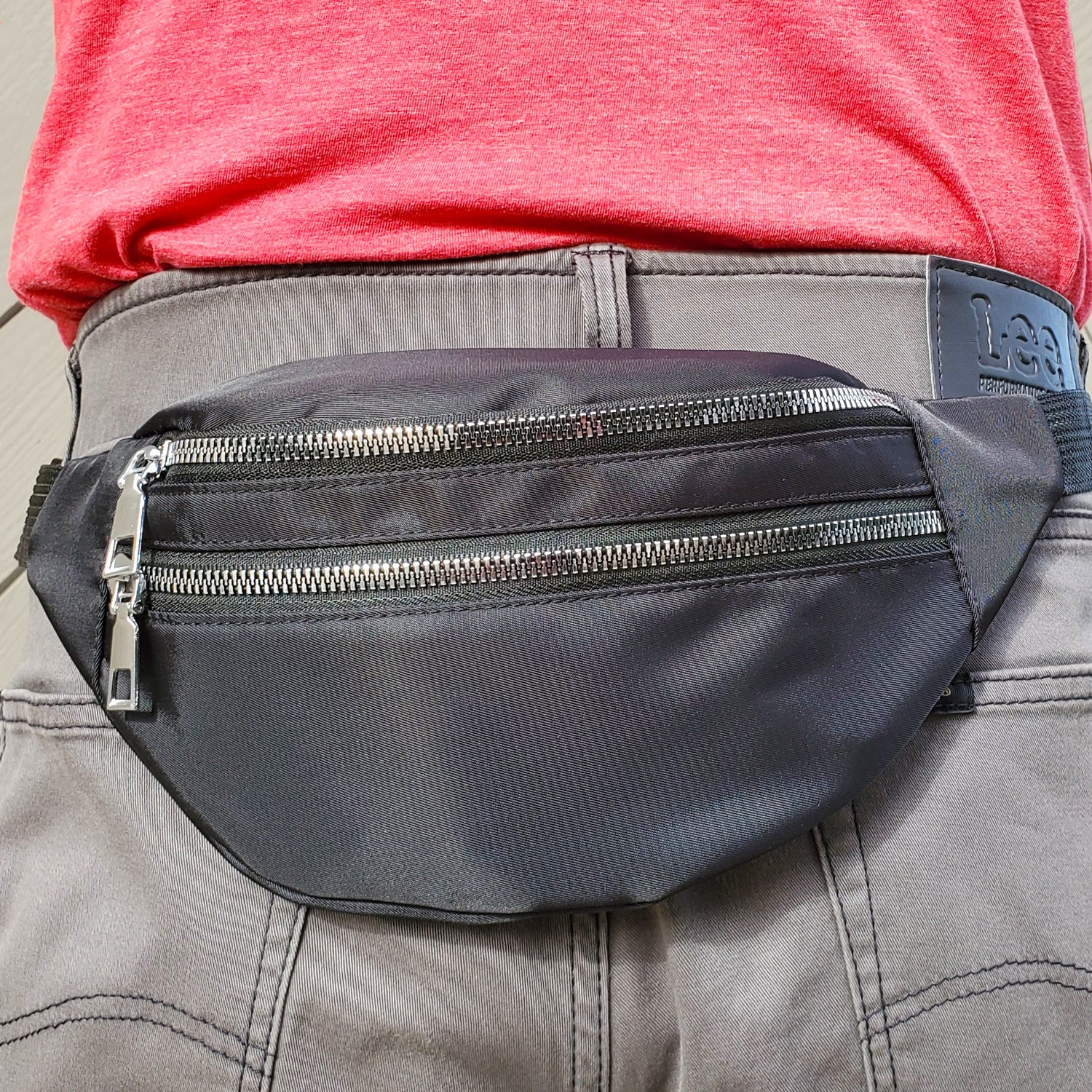 Jet Black Fanny Pack With Chrome Zippers