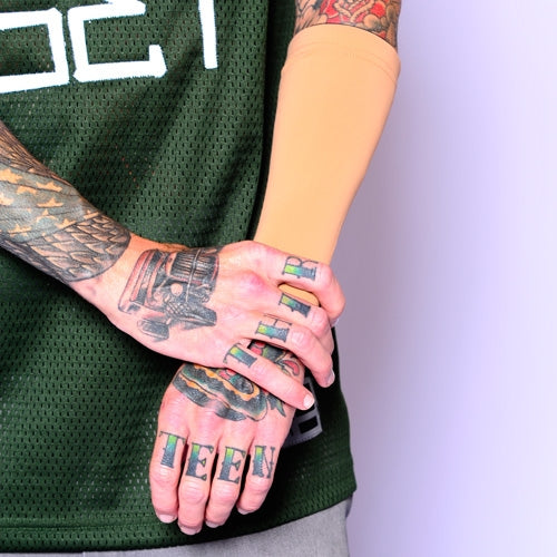 3 4 Tattoo Sleeve Cover: Pink Nine Inch Forearm Sleeve For Tattoo Protection