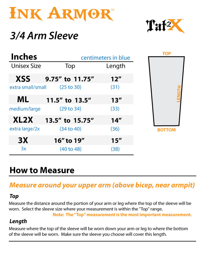 Suntan 3/4 Sleeve To Cover Tattoo or Body Art Size Chart