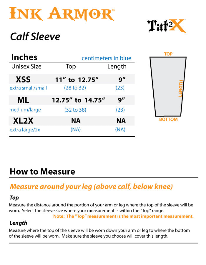 Brown Calf Leg Tattoo Sleeve Cover Size Chart