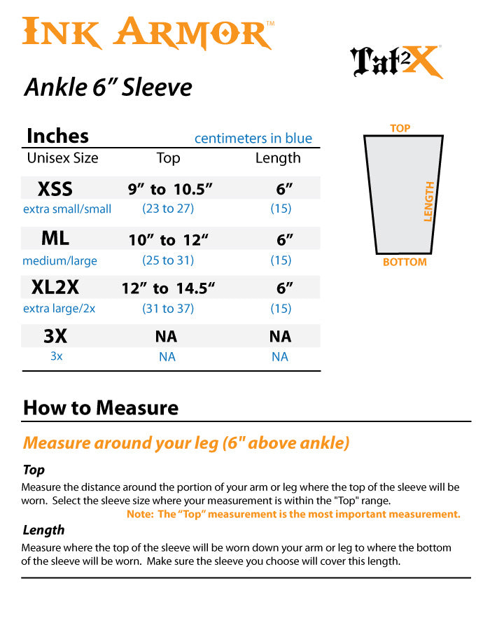 Suntan Skin Tone Ankle 6 Inch Tattoo Sleeves Cover Size Chart