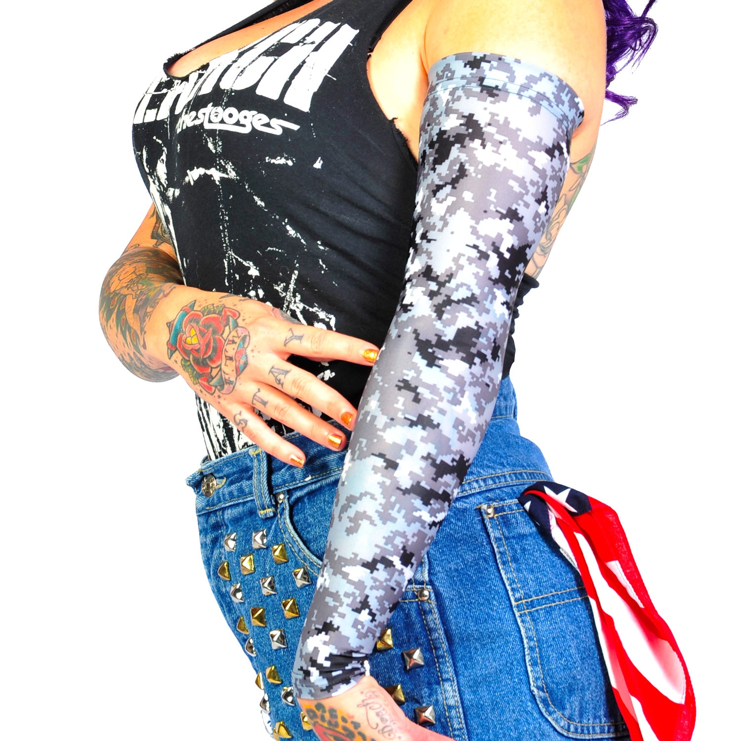 Ink Armor Tattoo Cover Up Sleeve - Full Arm (Grey Digital Camo)