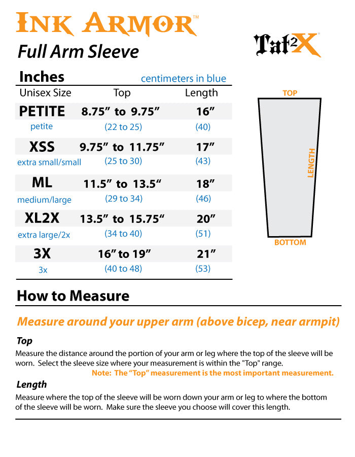 Arm Sleeves for Covering Up Tattoos Size Chart