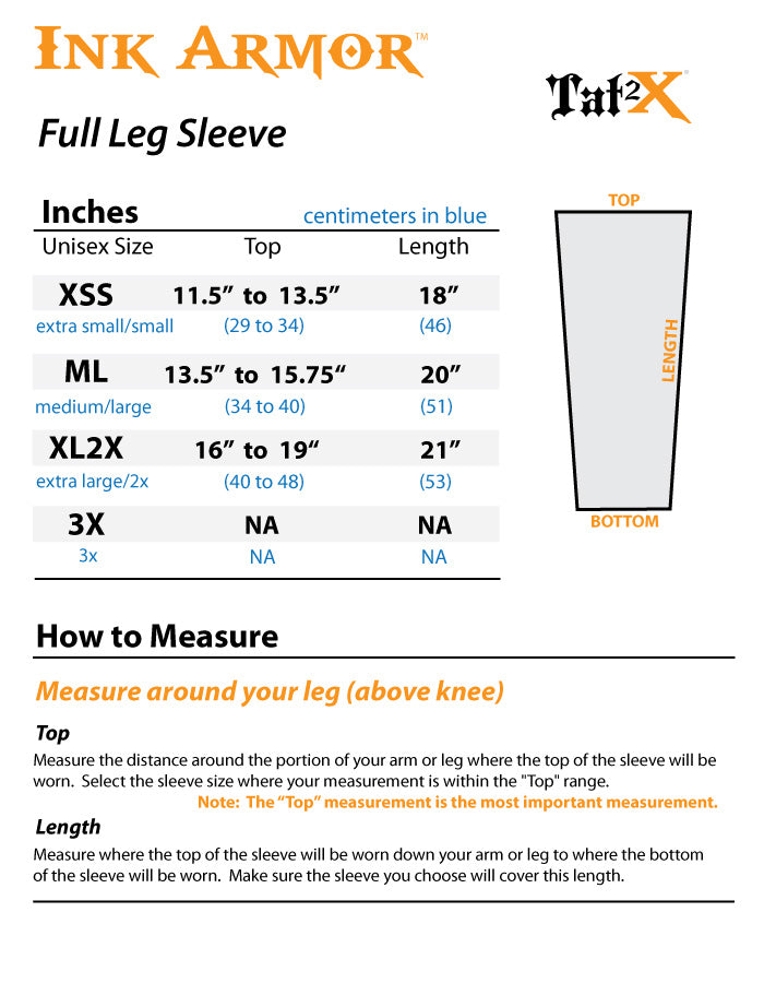 Neon Orange Tattoo Covers for Legs Size Chart