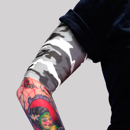 Grey Camo Pattern Tattoo Upper Arm Covers to Hide Tattoos