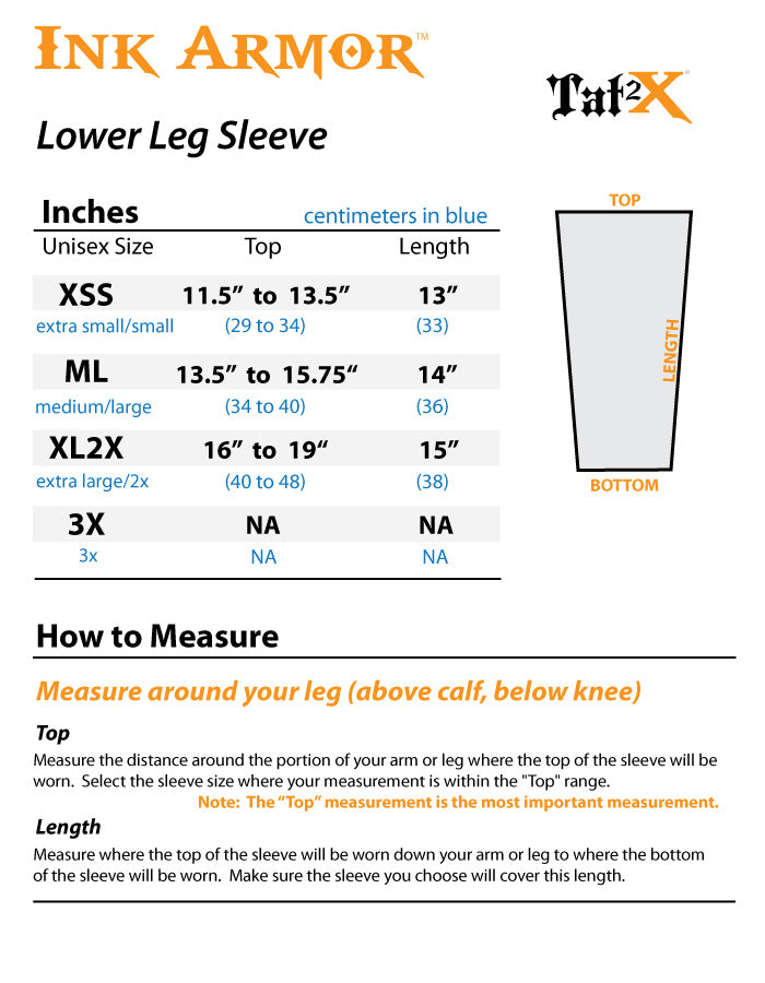 Brown Lower Leg Sleeves to Cover Tattoos Size Chart