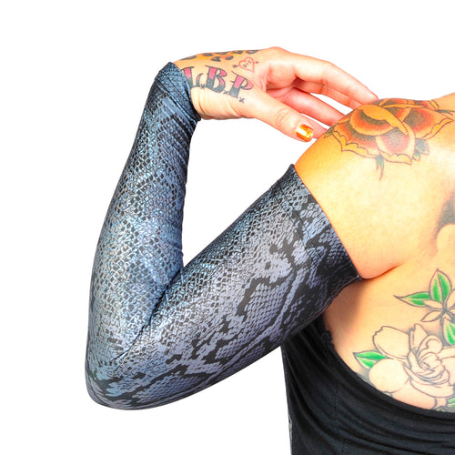 Ink Armor Tattoo Cover Up Sleeve - Full Arm (Snake Grey)
