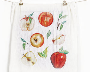 Apple Flour Sack Tea Towel - Honey Brush Design