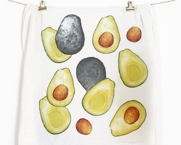 Avocado Flour Sack Tea Towel - Honey Brush Design