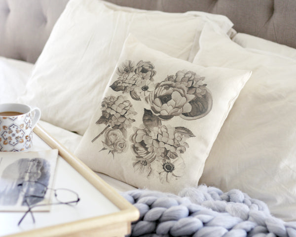 Black and White Floral Canvas Pillow Cover - Honey Brush Design