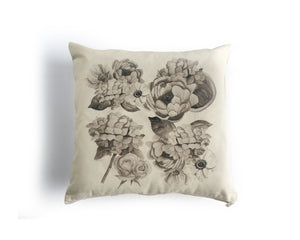 PRE-SALE Black and White Floral Canvas Square Pillow Cover