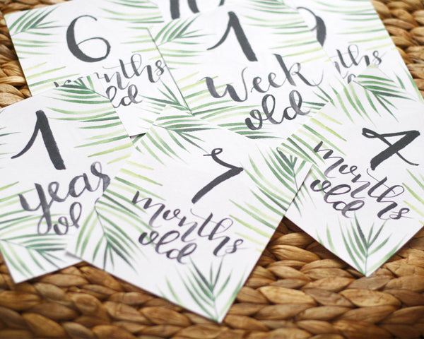 Baby Milestone Cards- Greenery - Honey Brush Design