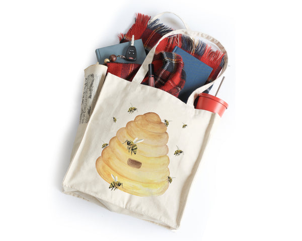 PRE-SALE Beehive Tote Bag - Honey Brush Design