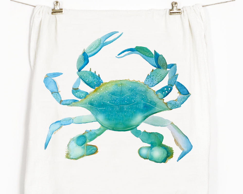 Blue Crab Flour Sack Tea Towel
