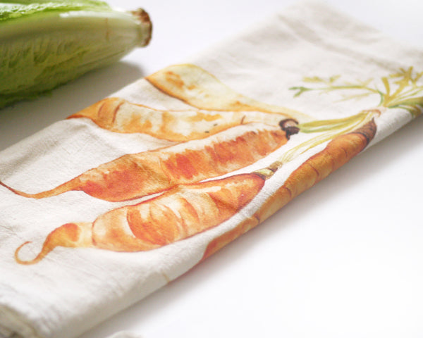 Carrots Flour Sack Tea Towel - Honey Brush Design