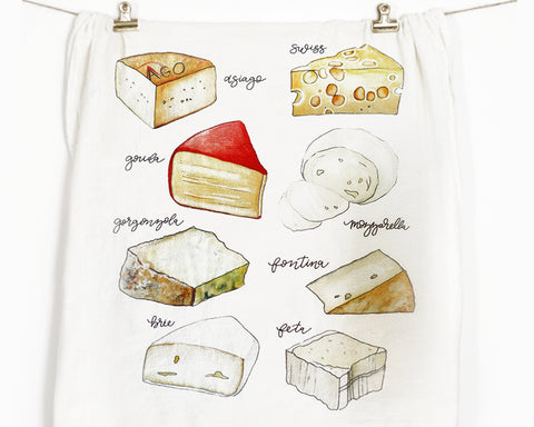 Cheese Flour Sack Tea Towel - Honey Brush Design