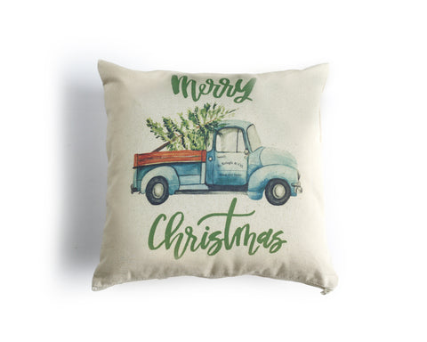 Christmas Truck Canvas Pillow Cover - Honey Brush Design