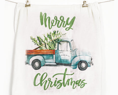 Christmas Truck Flour Sack Tea Towel - Honey Brush Design