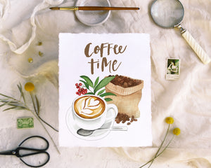 'Coffee Time' Print - Honey Brush Design