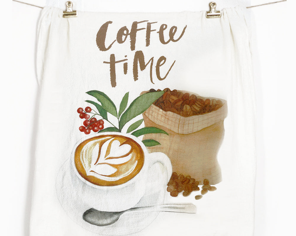 Coffee Flour Sack Tea Towel - Honey Brush Design