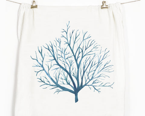 Blue Coral Flour Sack Tea Towel