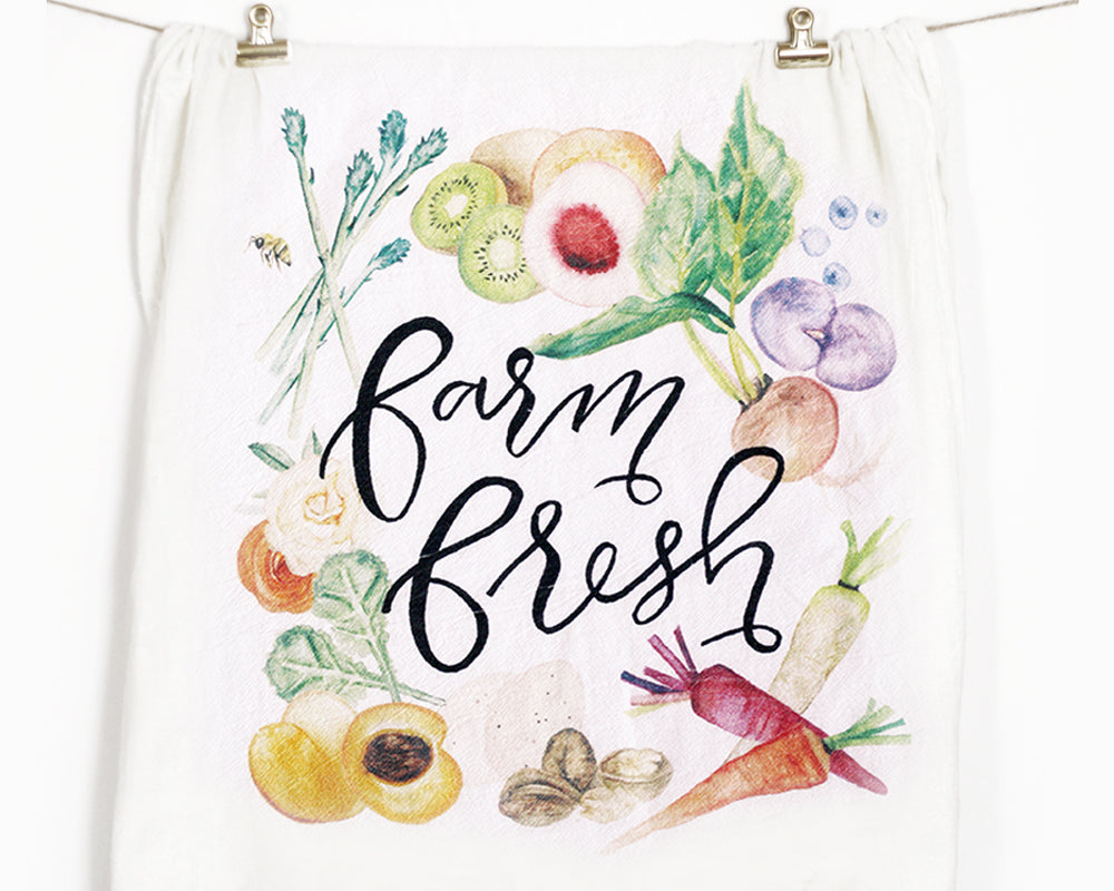 Farm Fresh Flour Sack Tea Towel - Honey Brush Design